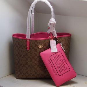 NEW! Coach Reversible City Tote Sig Canvas & Pouch